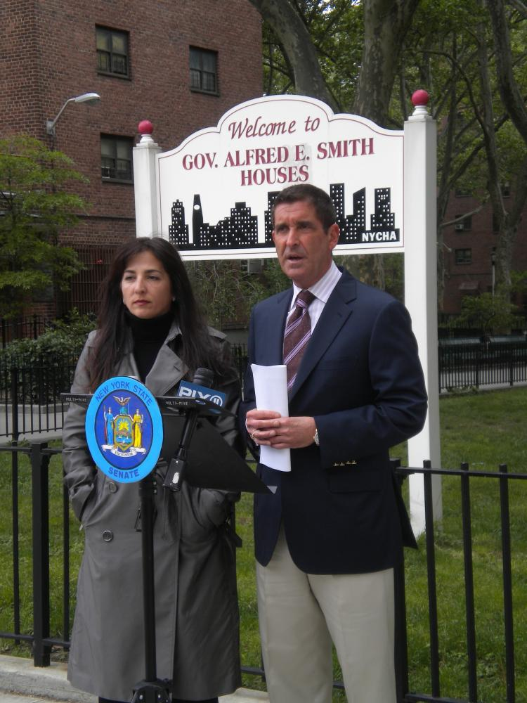 SAFETY FROM OFFENDERS: N.Y. state senators Diane Savino (L) and Jeffery Klein spoke from a public-housing building in Manhattan's Lower East Side on Sunday in support of new legislation that would keep registered sex offenders out of public housing.  (Photo by Gwen Rocco)
