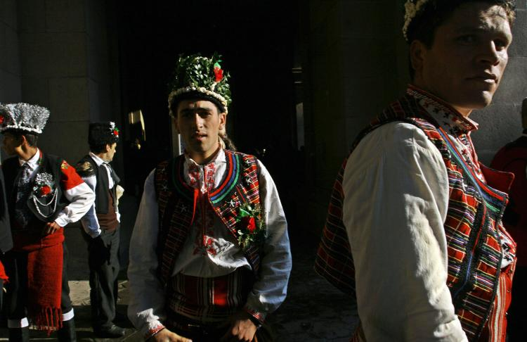 Bulgarian dancers from the town of Yambol wait before performing a pagan traditional dance named Koledari (Koleduvane), in central Sofia. Koledari is an important ancient pagan festival that coincides with the Winter Solstice in December and celebrates th (Valentina Petrova/AFP/Getty Images)