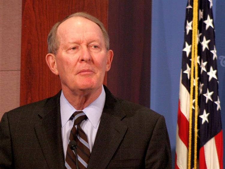 TRADITION: Sen. Lamar Alexander (R-Tenn.) defends the filibuster as necessary to preserve the Senate's deliberative nature and check on rash legislation. He spoke Jan. 3 at the Heritage Foundation. (Gary Feuerberg/The Epoch Times)