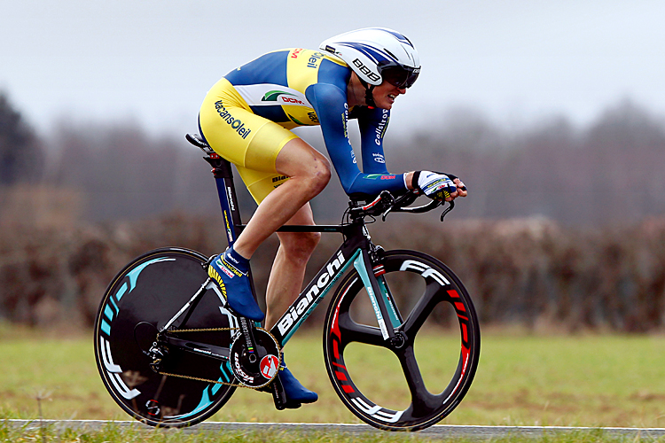 Swedish Gustav Larsson rides the opening time trial of the 2012 Paris-Nice cycling race, beating Bradley Wiggins by 1.53 seconds. (Pascal Pavani/AFP/Getty Images)