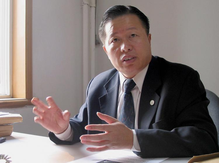 Gao Zhisheng at his office in Beijing in November 2005.  (Verna Yu/AFP/Getty Images)