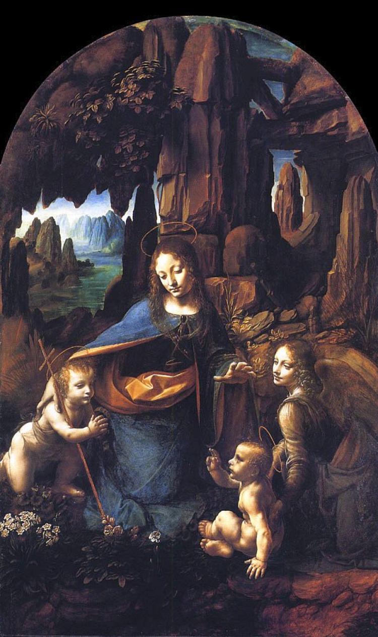"""Virgin of the Rocks,"" Leonardo da Vinci, 1506, oil on wood, National Gallery, London, England. (artrenewal.org)"