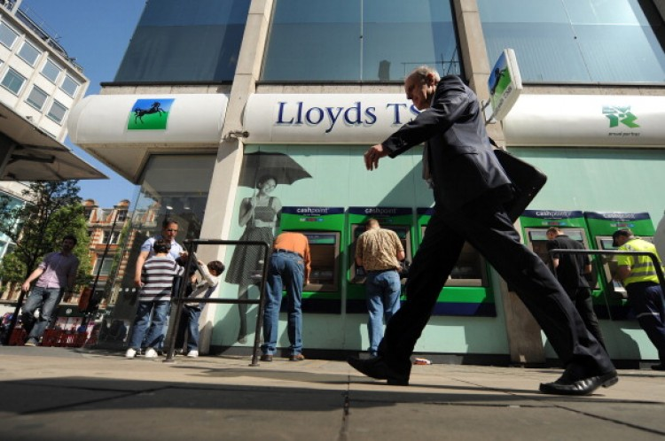 A branch of Lloyds Banking Group is pictured on Oxford street in central London, on April 11, 2011. (Ben Stansall/APF/Getty Images)