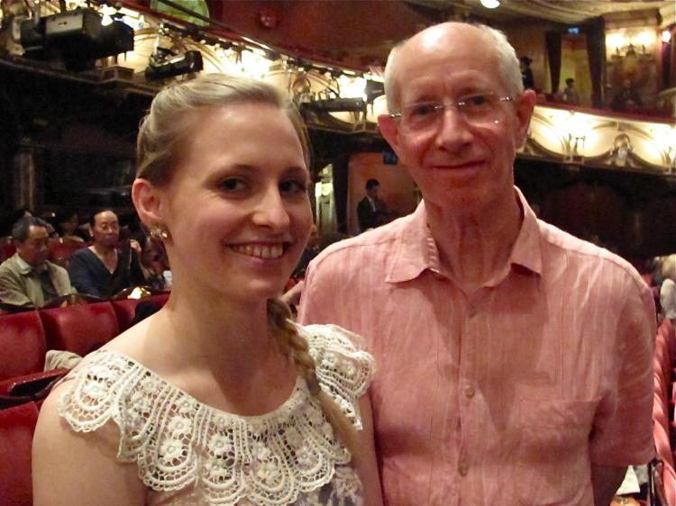 Latin and Ballroom dance teacher Rachel Glen at the London Coliseum with her father, Colin, on April 8. (Courtesy of SOH Radio Network)