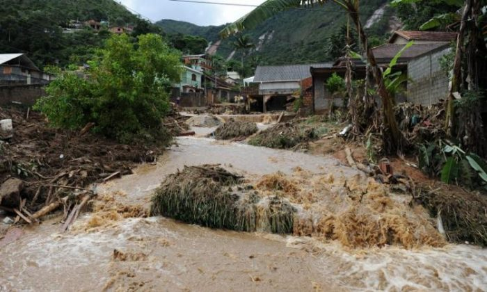 DISASTER'S PATH: A general view of a street after heavy rains caused mudslides in a low-income neighborhood in Teresopolis, some 60 miles from downtown Rio de Janeiro, Brazil, on Jan. 12. (Vanderlei Almeida/AFP/Getty Images)