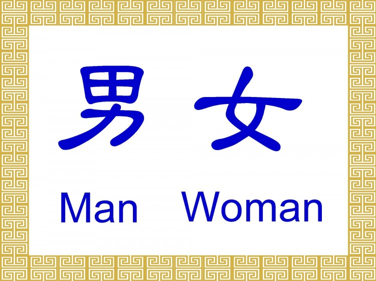The Chinese characters for man and woman