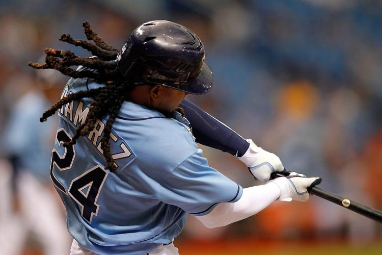 Manny Ramirez #24 of the Tampa Bay Rays bats against the Baltimore Orioles during a game on April 3, 2011. Ramirez has decided to retire from baseball after being informed of a positive drug test, Major League Baseball has announced. (J. Meric/Getty Images)