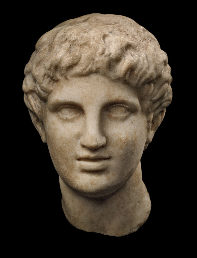 Ancient Greek head of a young man, ca. 3rd-2nd century BC. (Merrin Gallery)