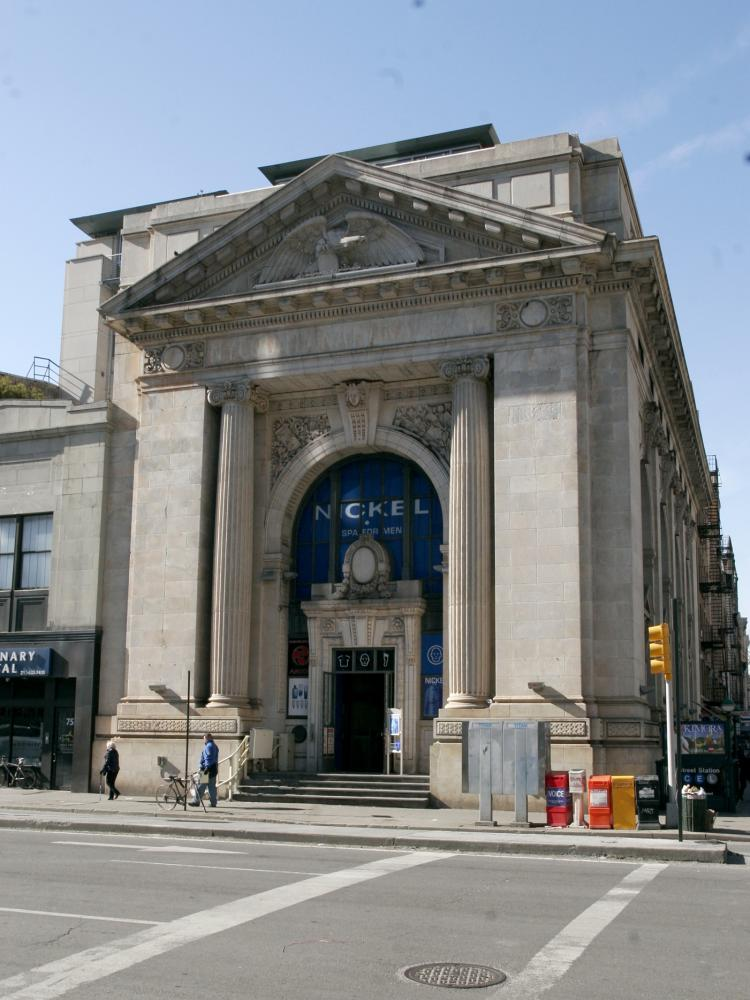 EIGHTH AVENUE GREEK TEMPLE: The New York County National Bank building, constructed in 1907, is a neo-classical limestone building on the border of Chelsea and the West Village. (Tim McDevitt/The Epoch Times)