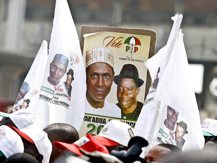 Banners and posters showing Nigeria's President Umar Yar'Adua and Vice President Goodluck Jonathan during a 2007 election campaign. (Pius Utomi Ekpei/AFP/Getty Images)
