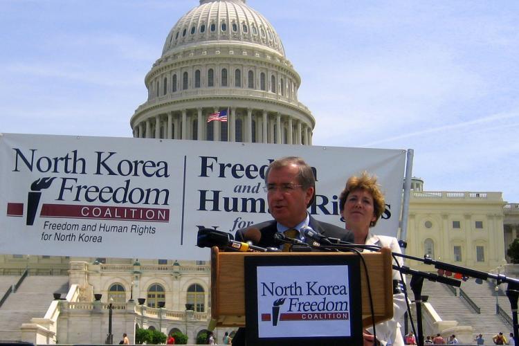 Congressman Ed Royce speaking at the North Korea Freedom Week Capitol Rally Apr. 28.
