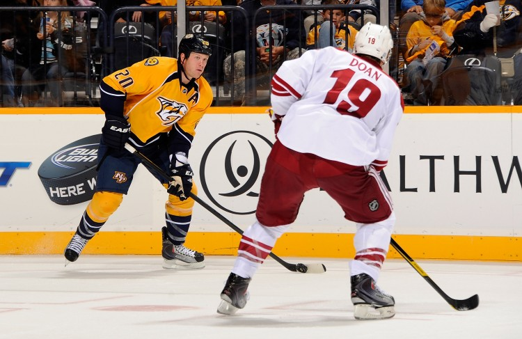Nashville and Phoenix face off in the second round of the NHL playoffs. (Frederick Breedon/Getty Images)