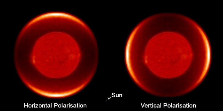 A synthetic image produced from the data of the dust shell around the red giant star W Hydrae, shown in two polarizations of light, horizontal and vertical. This is equivalent to viewing the dust shell through polarized sunglasses, with the glasses held horizontally (left image) and vertically (right image). The image of the star in the centre of the dust shell is not from these observations and is for illustrative purposes. The sun (a single dot) is included for scale. (Barnaby Norris)