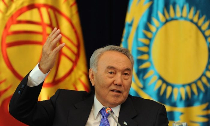 Kazakh President Nursultan Nazarbayev on a visit to Kyrgyzstan, Aug. 22, 2015. (Vyacheslav Oseledko/AFP/GettyImages)
