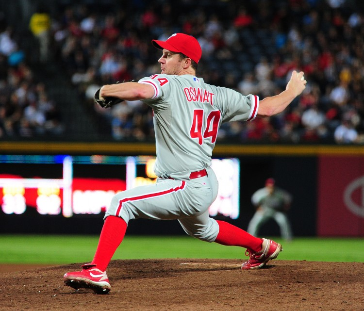 The Philadelphia Phillies declined their 2012 option on pitchers Roy Oswalt (pictured) and Brad Lidge. (Scott Cunningham/Getty Images)