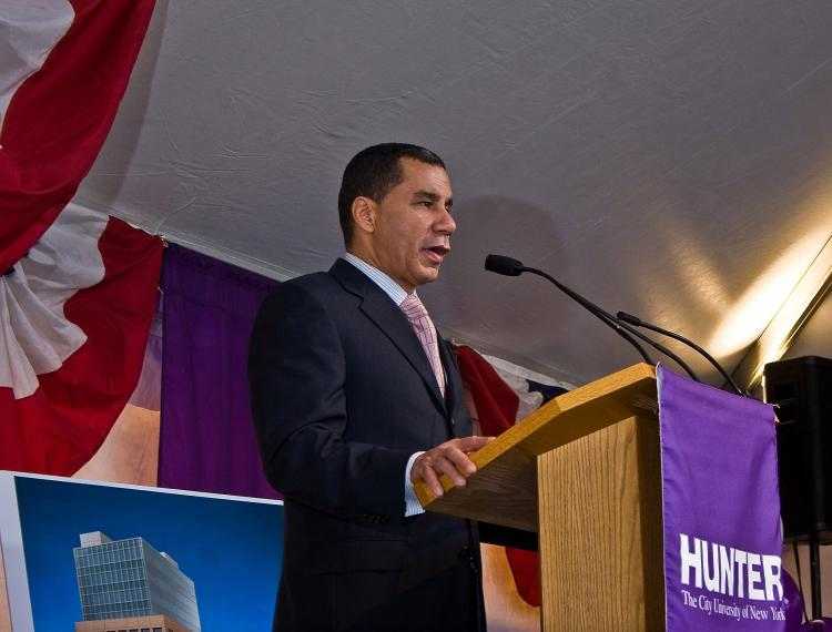 Gov. David Paterson at a groundbreaking ceremony for a new facility for Hunter College and CUNY on Monday Nov. 16 in East Harlem. (The Epoch Times)