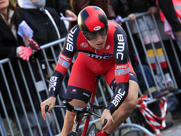 U.S. cyclist Taylor Phinney rides during the opening stage of the Giro d'Italia, an 8.7-km time trial around Herning. (Luk Benies/AFP/Getty Images)