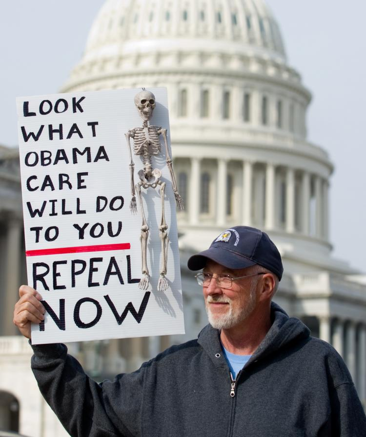 HEALTH CARE REPEAL: A man protests against the Patient Protection and Affordable Care Act health care legislation during an Americans for Prosperity November Speaks rally on Capitol Hill Nov. 15, 2010.(Saul Loeb/AFP/Getty Images)