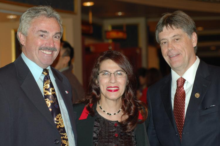 MPPs Michael Prue (L) and Paul Miller, with Carole Paikin Miller, at the Toronto premiere of Shen Yun Performing Arts on Friday. (Matthew Little/The Epoch Times)