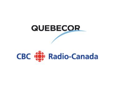 Logos of Quebecor Media Inc. and CBC Radio-Canada