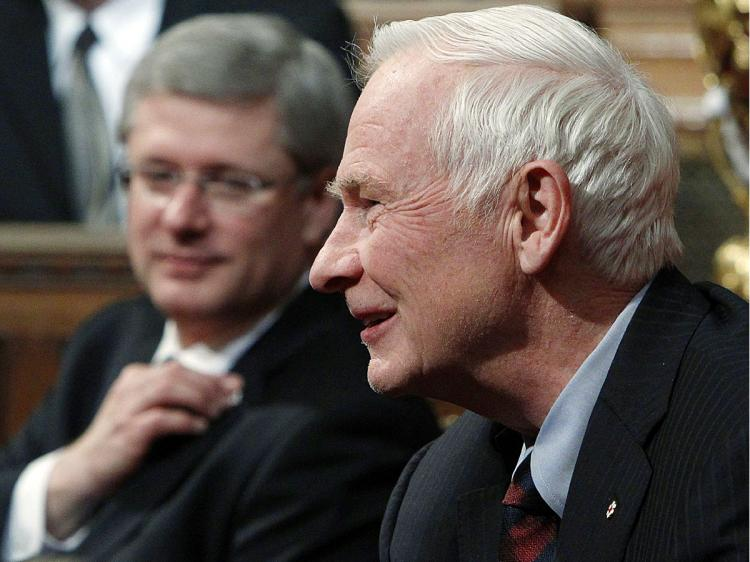 Governor General David Johnston and Prime Minister Stephen Harper take part in a Royal Assent ceremony in the Senate chamber on Parliament Hill on Dec. 15, 2010. Mr. Johnston praised Canada's efforts in Afghanistan in his New Year's message. (Reuters/Blair Gable)