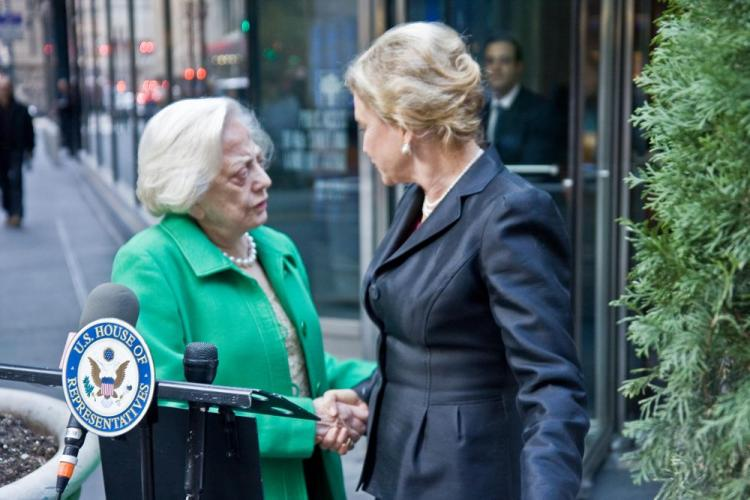 Rep. Carolyn Maloney (R) and the first woman to own a seat on the New York Stock Exchange, Muriel Siebert, stand in front of the former Bear Stearns' headquarters in Midtown Manhattan on Monday to introduce a new bill that will track spending of TARP funds. (Lixin Shi/The Epoch Times)