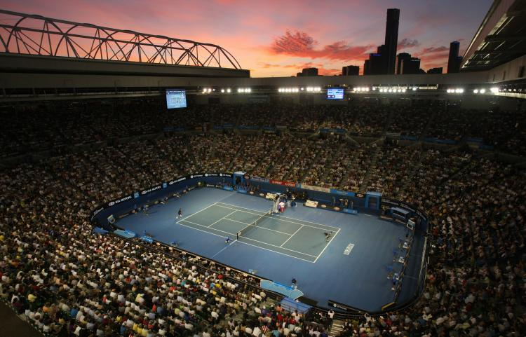 Centre Court�The sun sets over Melbourne as French tennis player Jo-Wilfried Tsonga and Serbian  opponent Novak Djokovic play their Men�s Singles Final at the 2008 Australian Open tennis tournament at the Rod Laver Arena. (Clive Brunskill/Getty Images)