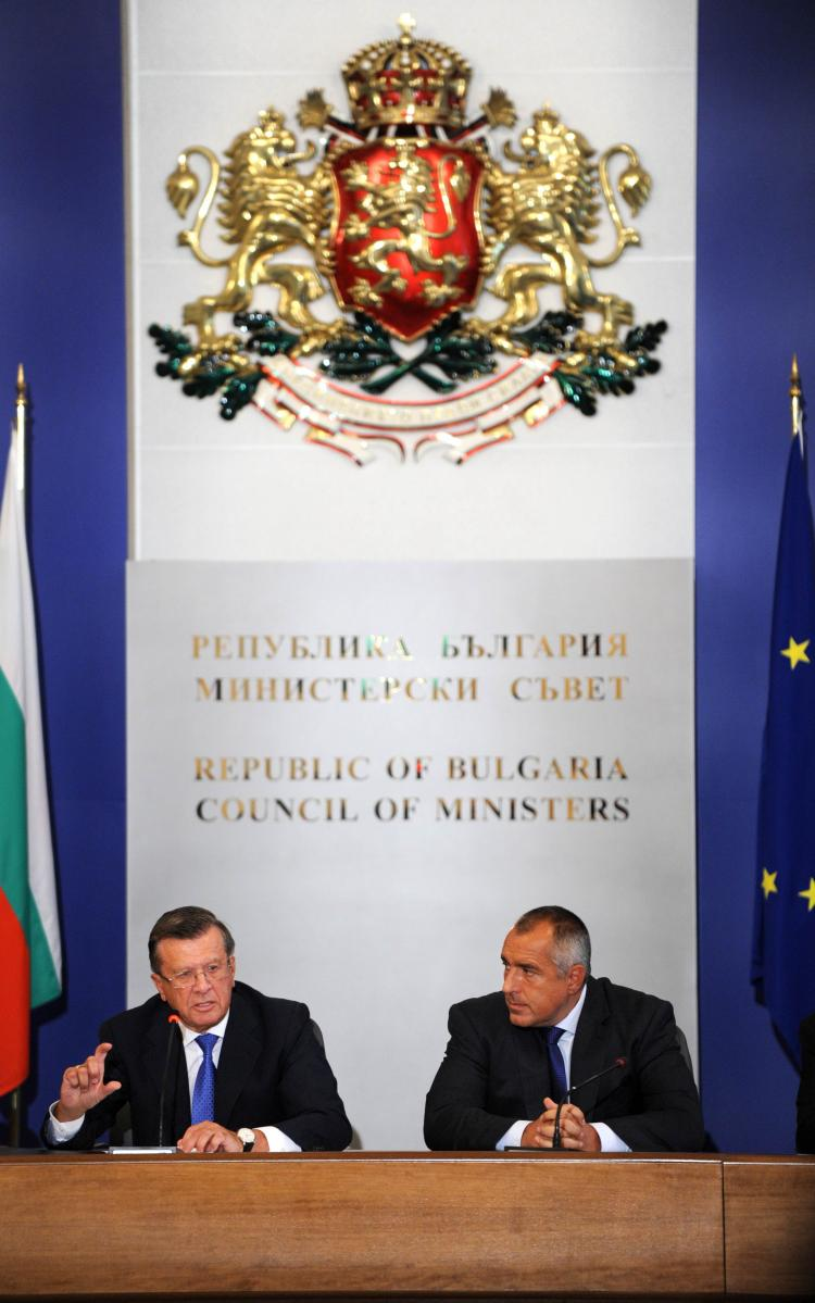 Russian First Deputy Prime Minister Viktor Zubkov speaks on July 6, during a news conference with Bulgarian Prime Minister Boiko Borisov after their meeting in Sofia. Bulgaria and Russia signed the road map of the South Stream gas pipeline project on July (NIKOLAY Nikolay Doychinov/Getty Images )