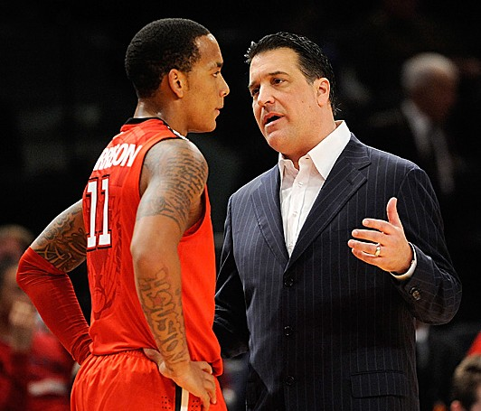 St. John's head coach Steve Lavin instructs highly-rated freshman guard D'Angelo Harrison. Patrick McDermott/Getty Images