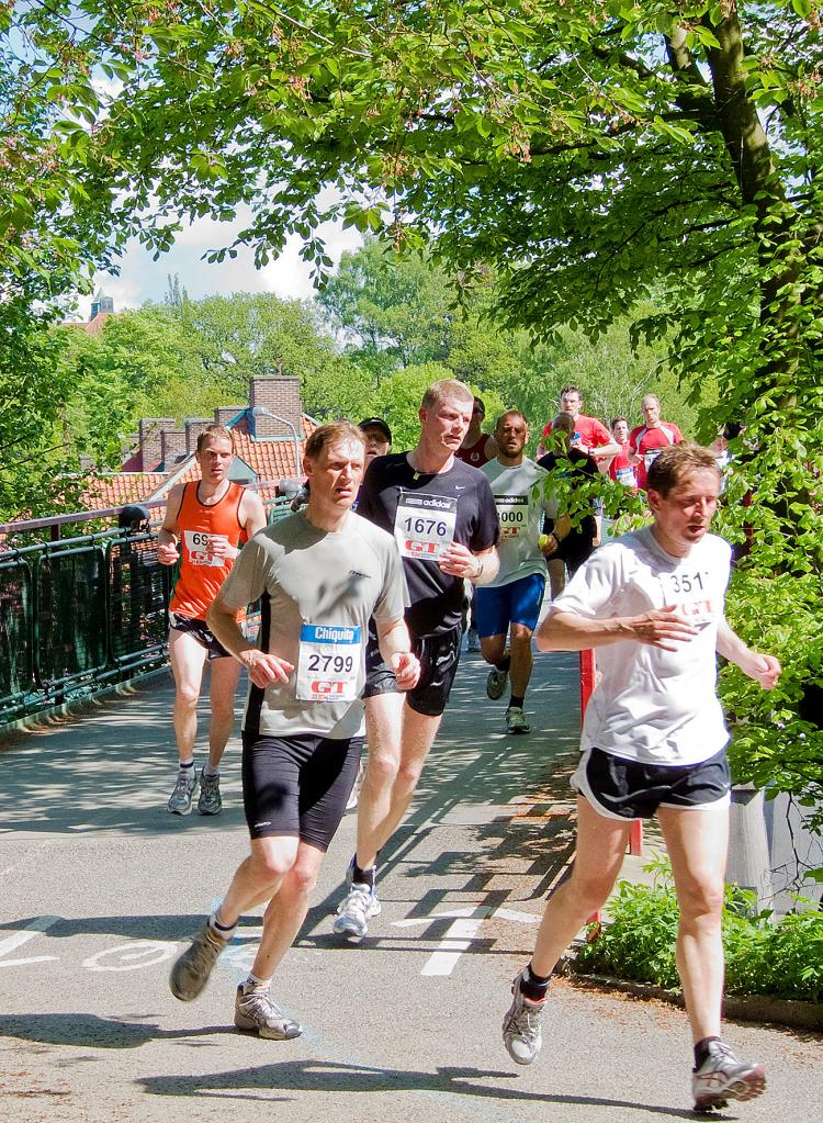 The runners pass Gothenburg's botanical garden as they approach the finishing line. (Anders Eriksson/The Epoch Times)