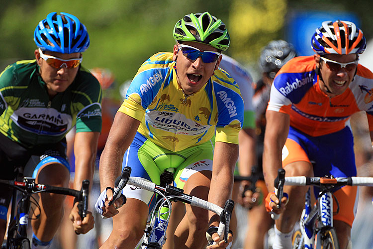 Peter Sagan of Liquigas-Cannondale smiles as he crosses the finish line ahead of Garmin-Barracuda's Heinrich Haussler (L) and Rabobank's Michael Matthews (R) to win stage four of the Amgen Tour of California. (Doug Pensinger/Getty Images)