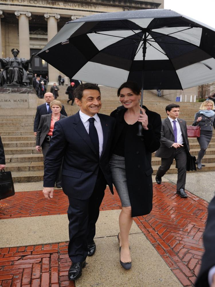 French President Nicolas Sarkozy and his wife Carla Bruni-Sarkozy leave Columbia University on March 29 in New York after he delivered a speech to students.  (Eric Feferberg/AFP/Getty Images)
