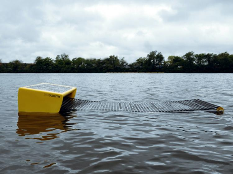 PROMISING PROTOTYPE: The Seaswarm robot can autonomously navigate the water's surface, presenting a new system for ocean-skimming and oil removal. (Photo courtesy of Senseable City Lab)