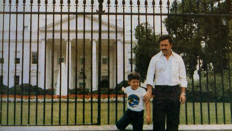Pablo Escobar and his son, Juan Pablo (now Sebastian Marroquin), in Washington, D.C., in the early 1980s.(Courtesy of hotdocs.ca)