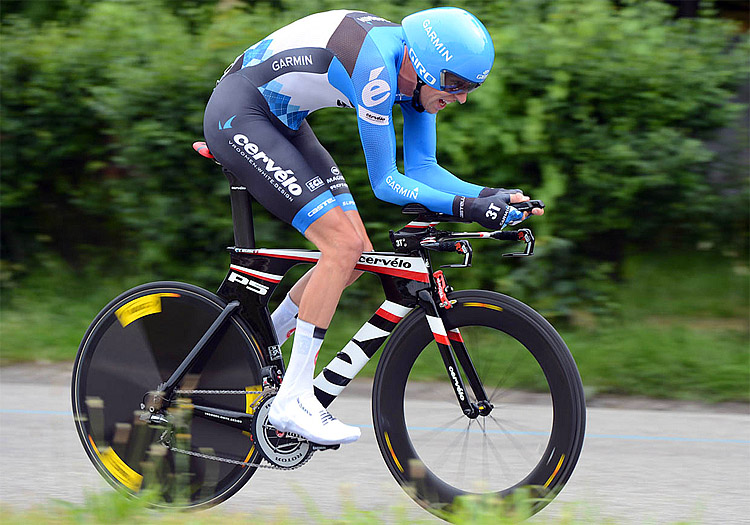 Garmin-Barracuda's Ryder Hesjedal rides in the Stage 21 time trial, on his way to winning the 2012 Giro d'Italia. (slipstreamsports.com)