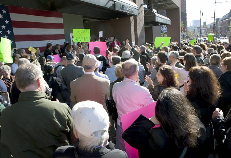 VILLAGERS RALLY: A rally to replace the closed down St. Vincent's Hospital in the West Village on Sunday afternoon drew hundreds of local residents. (Henry Lam/The Epoch Times)
