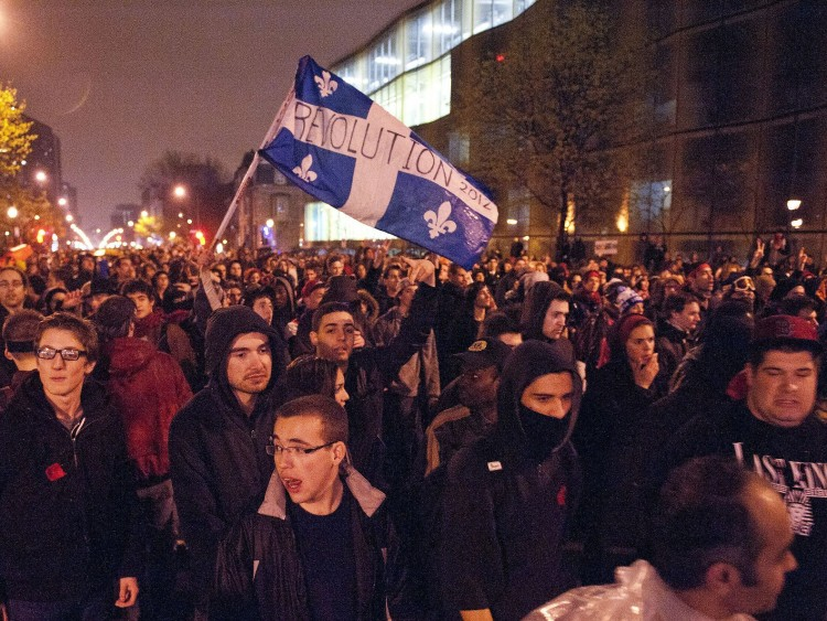 Students protest in Montreal on April 26.