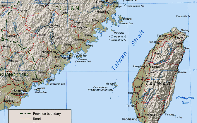 Map showing China, Taiwan, and the Taiwan Strait. (Image souce: Central Intelligence Agency)