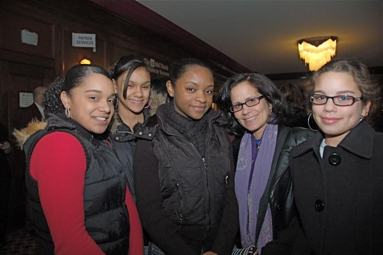 From left to right: Alicia, Karis, Damaris, Ms. Ramos, and Aurora. (Matthew Little/The Epoch Times)