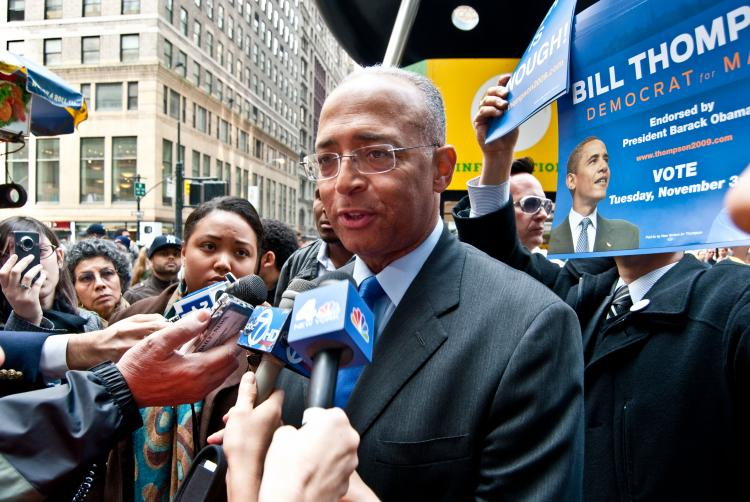 City Comptroller and mayoral candidate Bill Thompson speaks with reporters on the corner of 38th Street and 7th Avenue on Wednesday. (Joshua Philipp/The Epoch Times)