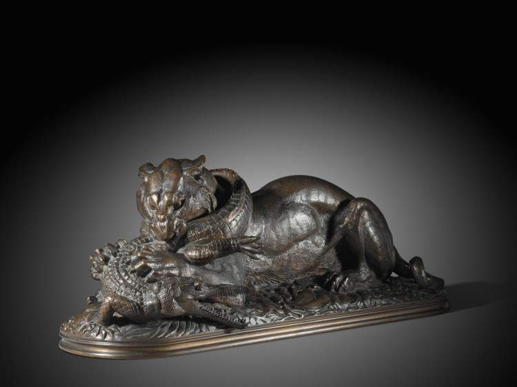 AUDACIOUS FOR 1845: This fine cast of 'Tiger Devouring a Gavial,' by Antoine-Louis Barye, circa 1845, is estimated at US$82,000 to $115,000. The artist is represented by 51 bronzes in the sale, some of which belonged to French royalty and the King of Por (Courtesy of Sotheby's)