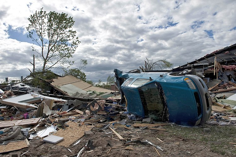 Damage is seen after an EF3 tornado