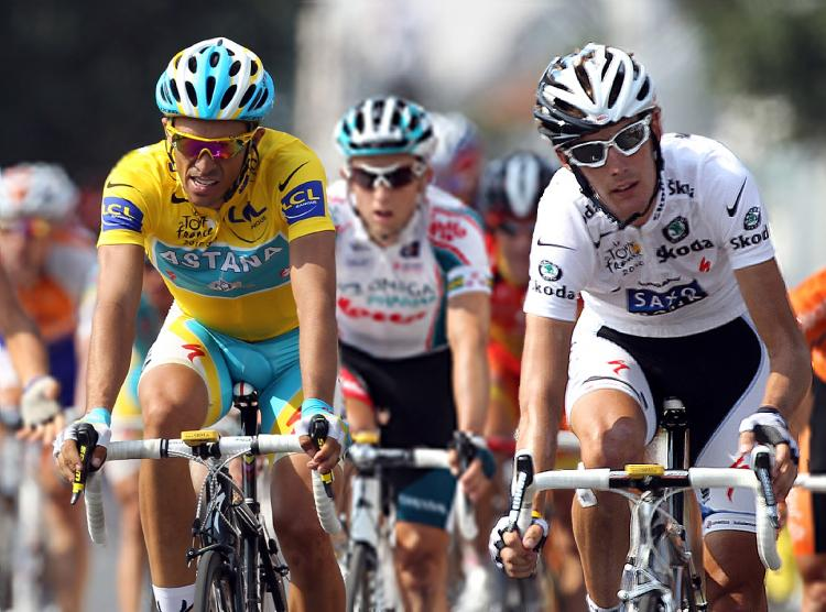 Alberto Contador (L) and Andy Schleck will decide the winner of the 2010 Tour de France on Saturday. (Bryn Lennon/Getty Images)