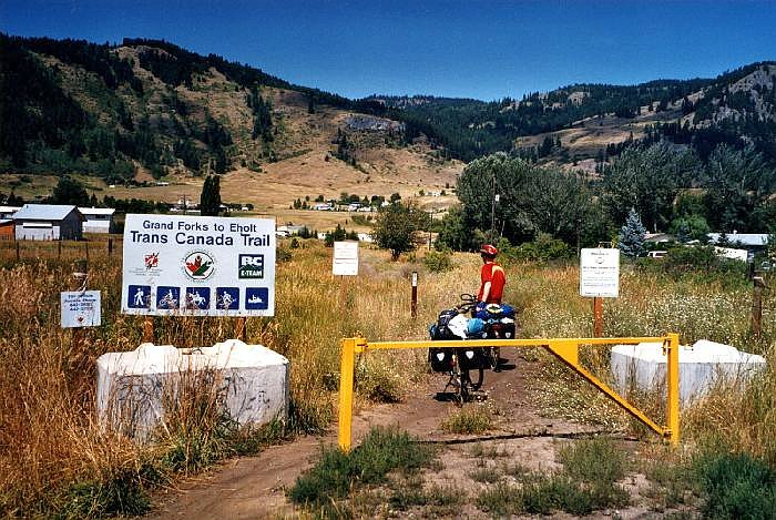 A cyclist prepares to ride on a portion of the Trans Canada Trail