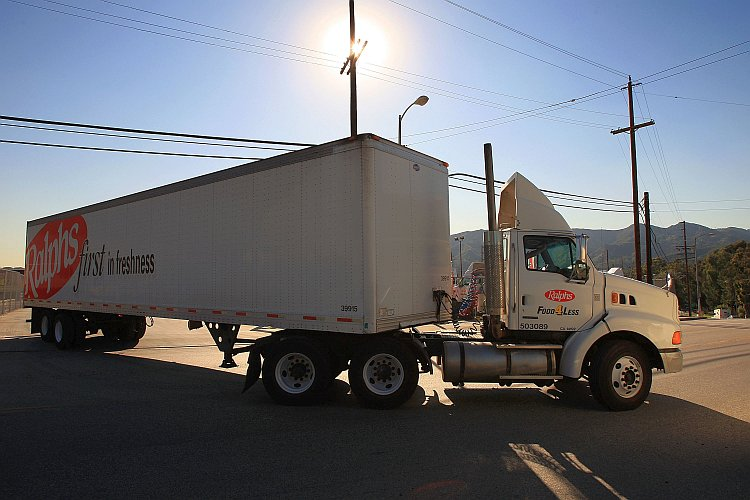 A truck leaves a trucking facility in Glendale, Calif.