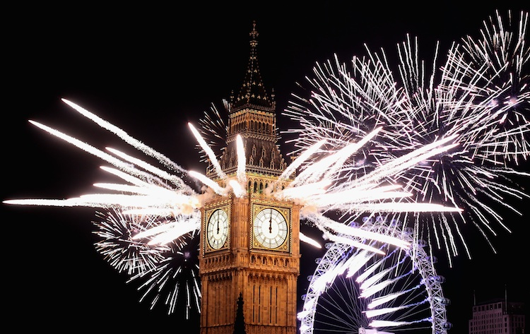 New Years Eve Is Celebrated In London With A Huge Fireworks Display