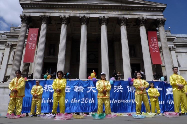 Falun Dafa practitioners Trafalgar Square