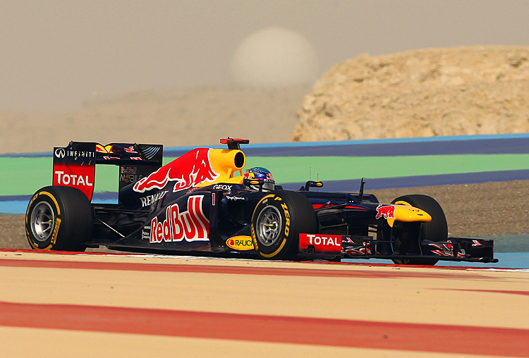 Red Bull Racing's Sebastian Vettel drives during the qualifying session for the Formula One Bahrain Grand Prix. (Karim Jaafar/AFP/Getty Images)