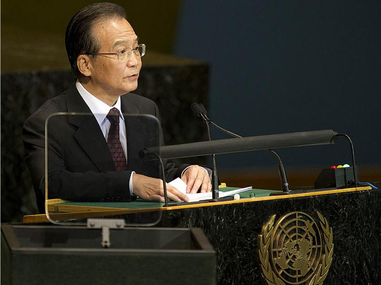 China's Premier Wen Jiabao delivers his address September 22, 2010 during the Millennium Development Goals Summit at the United Nations in New York. (Don Emmert/AFP/Getty Images)