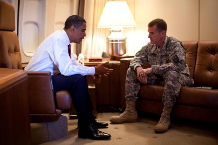 President Barack Obama (L) meets with General Stanley McChrystal (L), commander of U.S. Forces in Afghanistan, Oct. 2, while the president's plane was parked in Copenhagen, Denmark.  (Pete Souza/The White House via Getty Images)